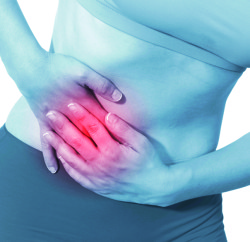 Acute pain in a woman stomach
